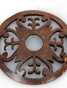 Laser cut brown coconut shell carved pendant 50mm