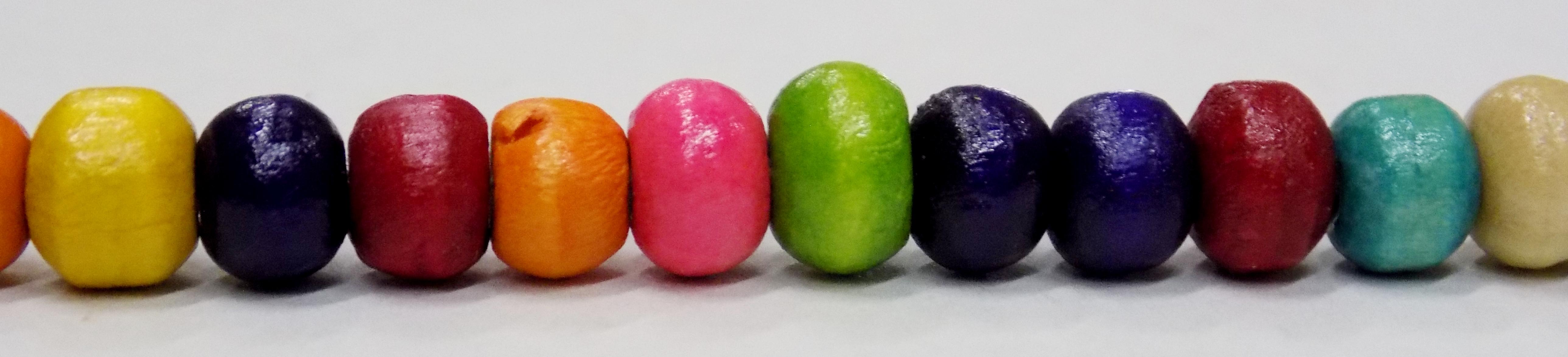 Multicolored wood crow bead 7mm