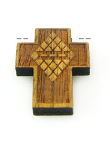 Wholesale Mahoganny wood cross laser designed 17mm