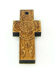 Mahogany wood cross laser designed 13.5mm