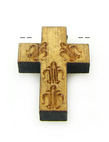 Mahogany wood cross laser designed 15mm