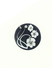 Makabibi Round 20mm Flower Laser Design Black