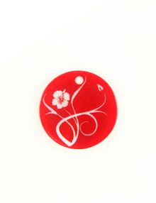 Makabibi Round 20mm Flower Laser Design Orange