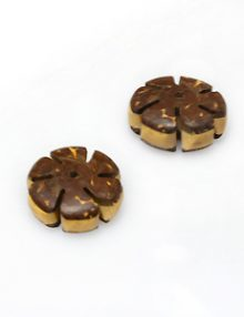Natural coconut shell insert bead flower design 15mm