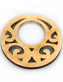 Natural white wood laser cut pendant 40mm