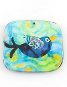 paper print wood pendant flat square bird design