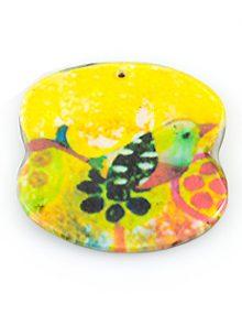 paper print wood pendant irregular bird design