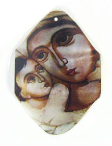 river shell madonna decal pendant wholesale