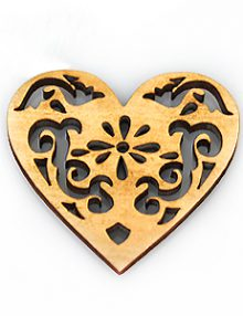 White wood laser cut heart shape 37mm