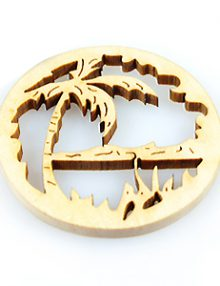 White wood laser cut round shape 39mm