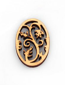 White wood laser cut oval shape 31mm