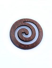 Laser cut brown coconut shell round carved pendant