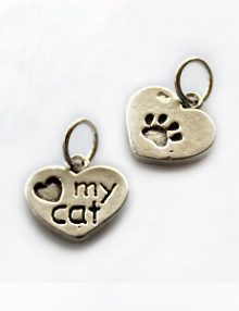 Thai silver charm love my cat engraved