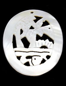 Makabibi shell pend oval 39x40mm carved wholesale