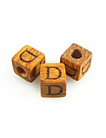 "Alphabet ""D"" wood bead bayong 8mm square"