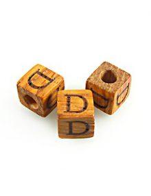 "Alphabet ""D"" wood bead bayong 8mm square"
