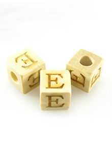 "Alphabet ""E"" white wood bead 8mm square"