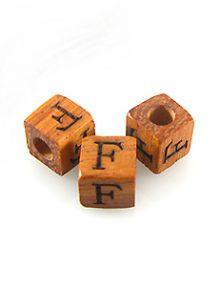 "Alphabet ""F"" wood bead bayong 8mm square"