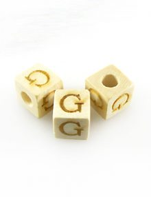 "Alphabet ""G"" white wood bead 8mm square"