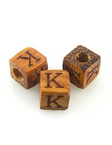"Alphabet ""K"" wood bead bayong 8mm square"