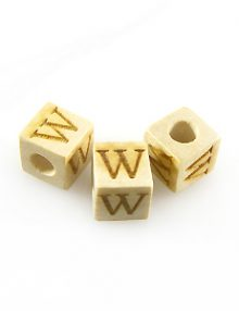 "Alphabet ""W"" white wood bead 8mm square"