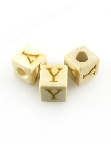 "Alphabet ""Y"" white wood bead 8mm square"