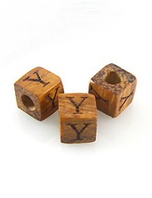 "Alphabet ""Y"" wood bead bayong 8mm square"