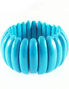 Bleach White Wood Stretch Bracelet Turq Blue