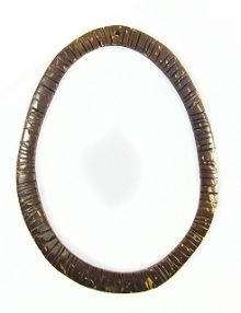 Corrugated Natural brown coconut shell ring 54x64mm