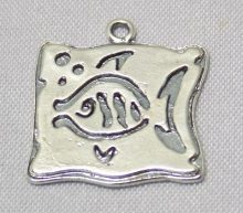 sterling silver Fish Bubbles Square Pendant