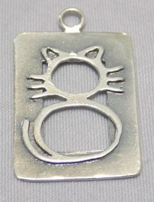 sterling silver Cat Framed Pendant