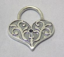 sterling silver Heart Shaped Lock Pendant