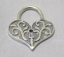 sterling silver Heart Shaped Lock Pendant