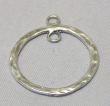sterling silver Double Ring Pendant Textured