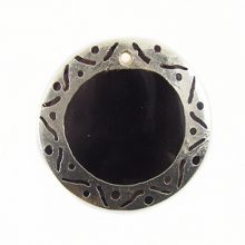 tab 30mm round in carved silver wholesale pendants