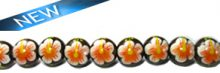 Robles round wood 10mm beads, Orange flower