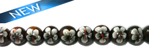 Robles round wood 10mm beads, Black flower