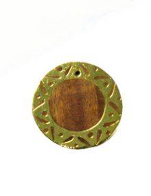 Kamachile wood round gold framed carved