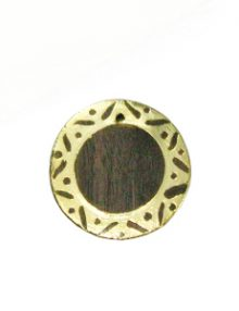 Graywood round gold framed carved 30mm
