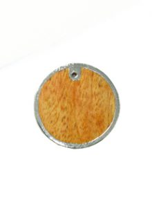 Mahogany wood round silver framed 30mm