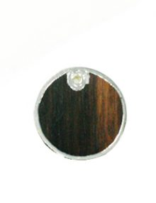 Tiger Ebony wood round silver framed 30mm