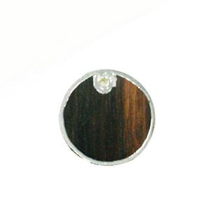 Tiger Ebony wood round silver framed 30mm