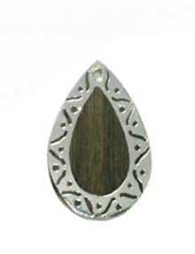 Graywood teardrop carved silver framed design