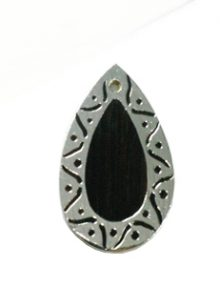 Tiger Ebony teardrop carved silver framed design