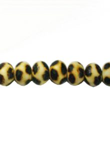 Wooden round 10mm leopard design bead