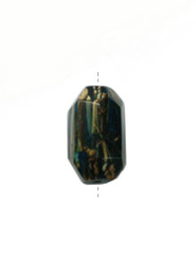 Laminated albutra roots embedded in faceted tube resin blue