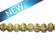 Wooden round 10mm linear design bead