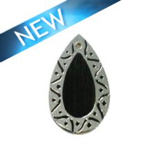 TigerEbony teardrop carved silver framed