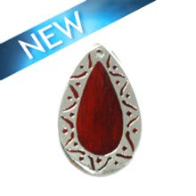 Sibucao wood teardrop carved silver frame