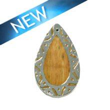 Mahoganny wood teardrop carved silver